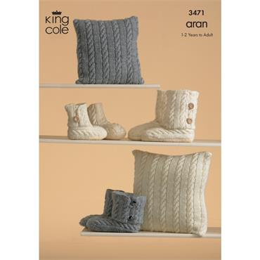 King Cole Pattern #3471 Knitted Slippers in Fashion Aran