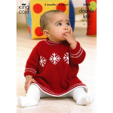 King Cole #3498 Christmas Snowflake Baby Dress in DK