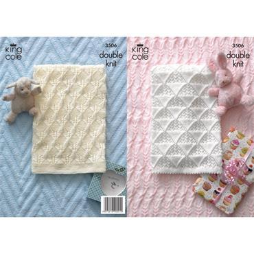King Cole Pattern #3506 Baby Blankets in King Cole DK