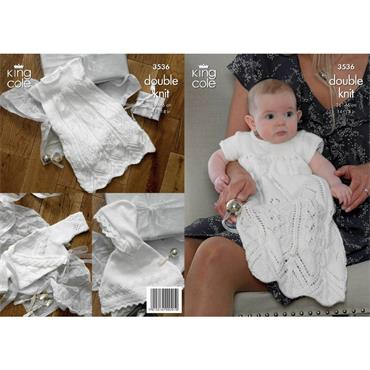 King Cole Pattern #3536 Knit Christening Outfit in DK