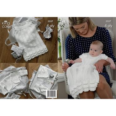 King Cole Pattern #3537 Knit Christening Outfit in 4ply