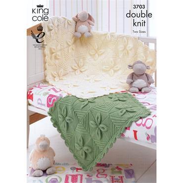 King Cole #3703 Leaf Baby Blanket in DK