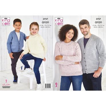 King Cole Pattern #3757 Cardigan And Sweater in Fashion Aran