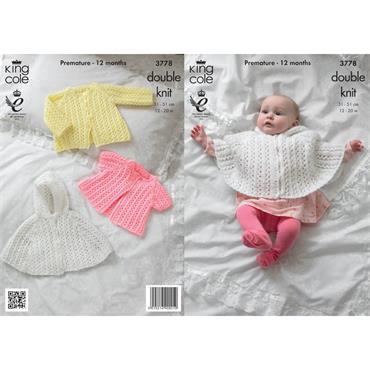 Pattern #3778 Cape & Jackets Knitted in Baby Glitz DK