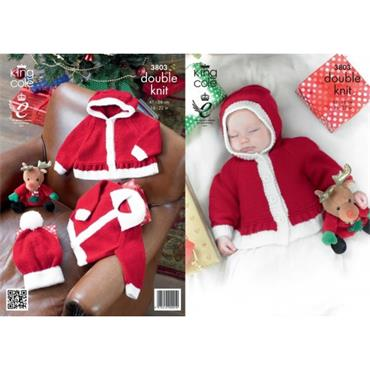 King Cole pattern #3803 Baby Christmas Jackets & Hat in DK