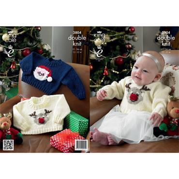 King Cole #3804 Reindeer & Santa Claus Baby Christmas Sweaters in DK