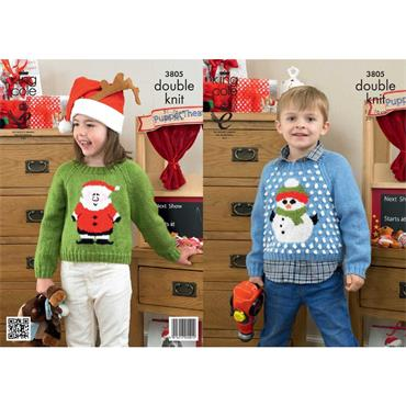 King Cole #3805 Snowman & Santa Claus Christmas Sweaters in DK
