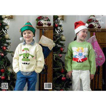 King Cole #3807 Fairy & Elf Christmas Sweaters in DK
