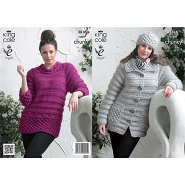 King Cole Pattern #3816 Jacket, Sweater & Hat in Chunky