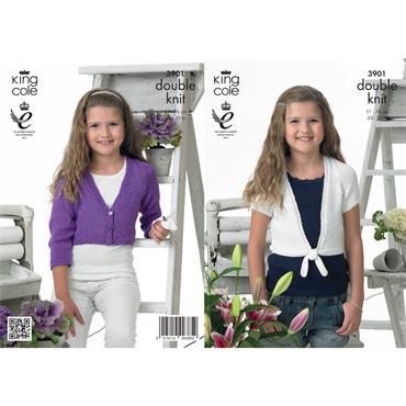 King Cole Pattern #3901 Girls Cardigans in DK