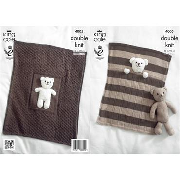 King Cole Pattern #4005 Teddy Bear Blankets in DK