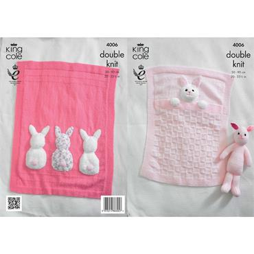 King Cole Pattern #4006 Bunny Rabbit Blankets in DK