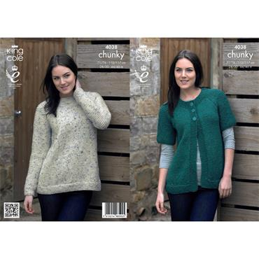 Pattern #4038 Cardigan and Sweater Knitted in Chunky Tweed