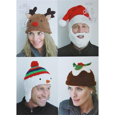 King Cole Pattern #4114 Adults Christmas Hats in DK & Chunky