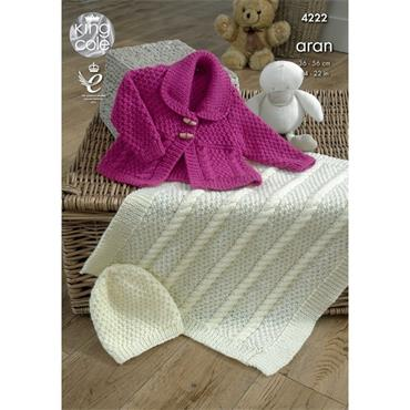 King Cole #4222 Jacket, Blanket & Hat in Comfort Aran