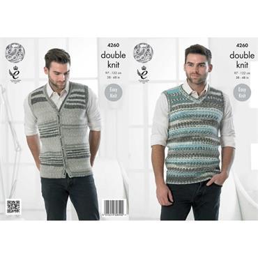 King Cole knit pattern #4260 Men's Slipover & Waistcoat DK
