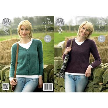 King Cole Pattern #4268 Ladies Raglan Cardigan & Sweater in Panache DK