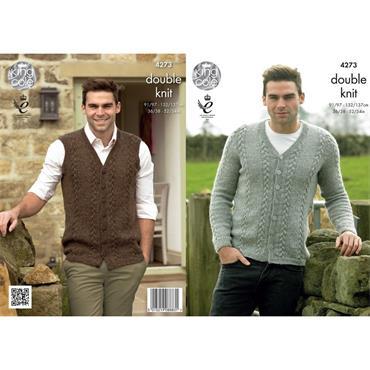 King Cole Pattern #4273 Mens Cardigan & Waistcoat in Panache DK
