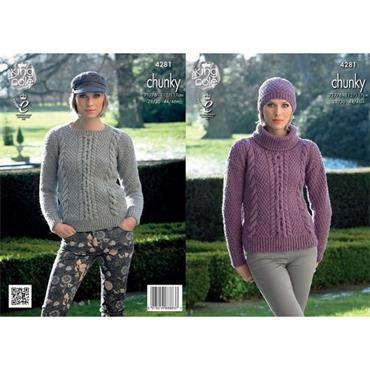 King Cole #4281 Sweaters and Hat in New Magnum Chunky
