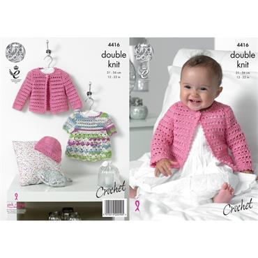 King Cole #4416 Crochet Dress, Cardigan & Hat in DK