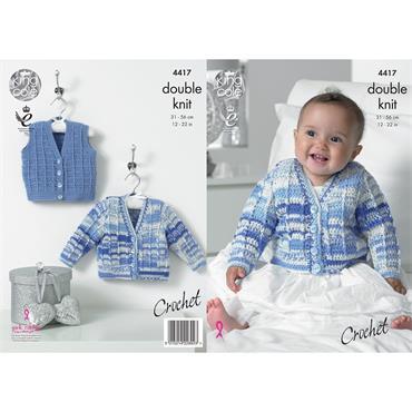 King Cole #4417 Crochet Cardigan & Waistcoat in DK