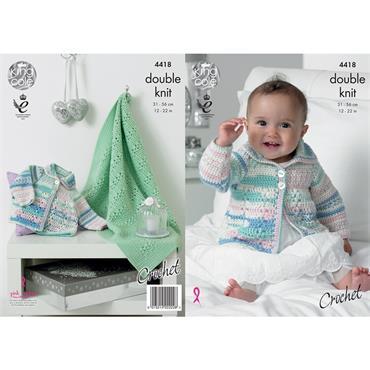 King Cole #4418 Crochet Coat & Blanket in DK   ***