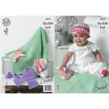 King Cole #4419 Crochet Hat, Scarf, Shoes, Socks & Blanket in DK