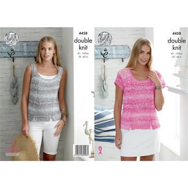 King Cole Pattern #4458 Vogue DK Ladies Top & Vest