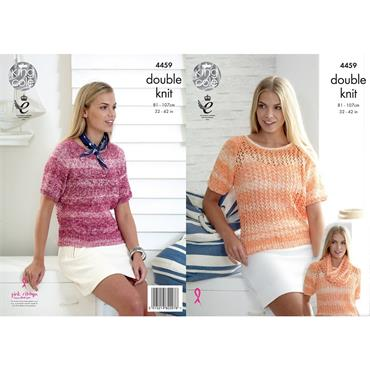 King Cole Pattern #4459 Vogue DK Lace Ladies Sweaters