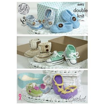 King Cole #4492 Baby Crochet Shoes (Booties) in DK