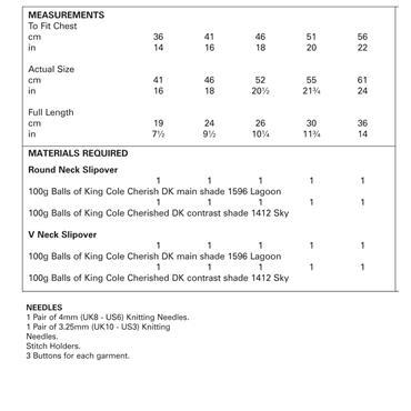 King Cole Pattern #4515 Slipovers in Cherish DK & Cherished DK