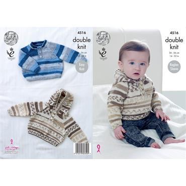 King Cole Pattern #4516 Sweater & Hoodie in Cherish DK