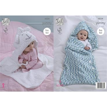 King Cole Pattern #4534 Yummy Cocoon & Blanket