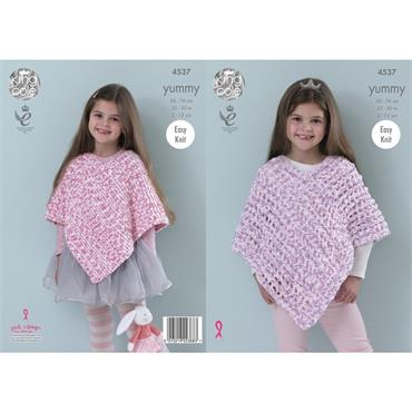King Cole Pattern #4537 Ponchos in Yummy