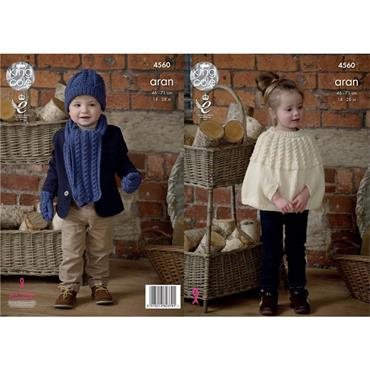 King Cole Pattern #4560 Cape/Poncho, Scarf, Hat & Mittens Knitted with Fashion Aran