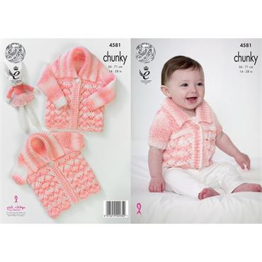 King Cole Pattern #4581 Cardigans in Big Value Baby Soft Chunky