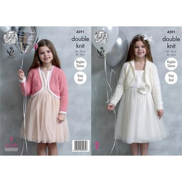 King Cole Pattern #4591 Girls Boleros in Embrace DK Communion Style