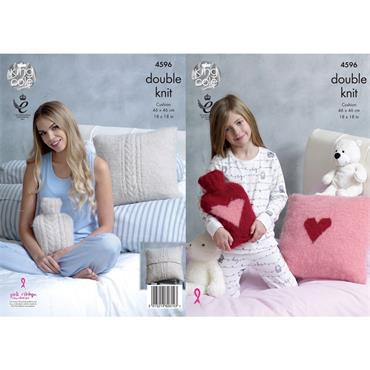 King Cole Pattern #4596 Cushions & Hot Water Bottle Covers in Embrace DK