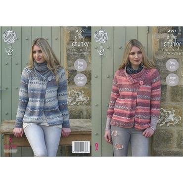 King Cole Pattern #4597 Ladies Jackets in Drifter Chunky