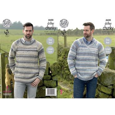 King Cole Pattern #4600 - Mens Drifter Chunky Sweaters