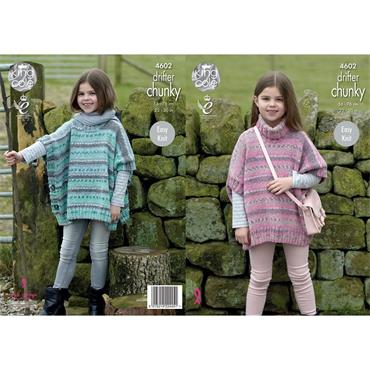 King Cole Pattern #4602 Girl's Ponchos in Drifter Chunky