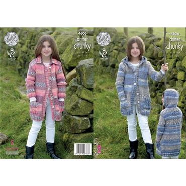 King Cole Pattern #4606 Girls Coats Knitted in Drifter Chunky