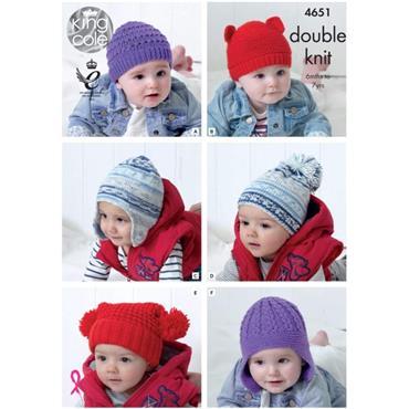 King Cole Pattern #4651 Children's Hats in Cherished DK