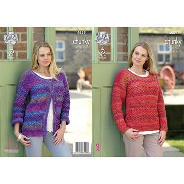 King Cole Pattern #4659 Ladies Cardigan & Sweater in Corona Chunky