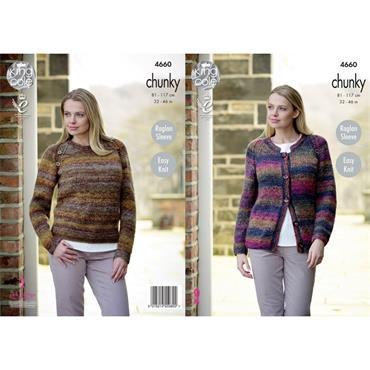 King Cole Pattern #4660 Ladies Cardigan & Sweater in Corona Chunky