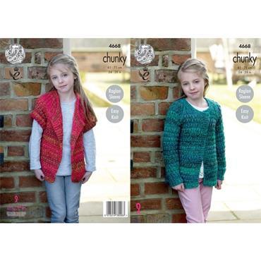 King Cole Pattern #4668 Girls Cardigans in Corona Chunky