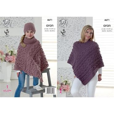 King Cole Pattern #4671 Ponchos & Hat Knitted in Fashion Aran