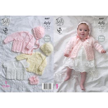 King Cole Pattern #4687 Matinee Coats, Bonnet, Hat & Bootees with Comfort 4ply