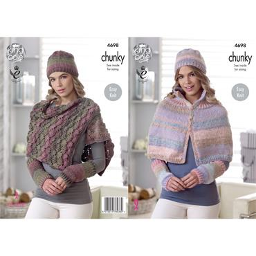 King Cole #4698 Cape/Poncho, Shoulder Wrap, Hat & Wristwarmers in Cotswold Chunky