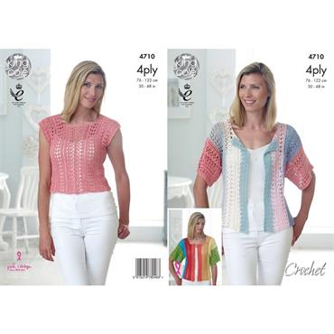 King Cole #4710 Ladies Crochet Top & Cardigans in Giza 4ply